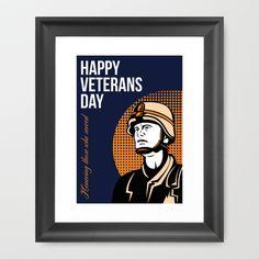 Happy Veterans Day Serviceman Greeting Card Framed Art Print