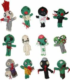 """Zombies Dolls by Zombie. $19.99. Great for goodie bags/party favors and handmade. 2.5"""" string dolls, with hanging loop. Collection of 12 assortment string Zombies dolls; You will get one of each. From the Manufacturer                Zombies Dolls - The Voodoo doll is all delicately hand made from the natural string. They are very popular with kids and adults alike. Every doll is made from a single thread and each has its own facial expression. These dolls a very collectable s..."""
