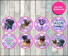 Puppy Dog Pals toppers instant download, Puppy Dog Pals cupcakes toppers labels, Printable Puppy Dog Pals party toppers Dog First Birthday, Classroom Valentine Cards, The Originals Characters, Valentines Day Treats, Dog Supplies, Cupcake Toppers, First Birthdays, Dogs And Puppies, Bingo