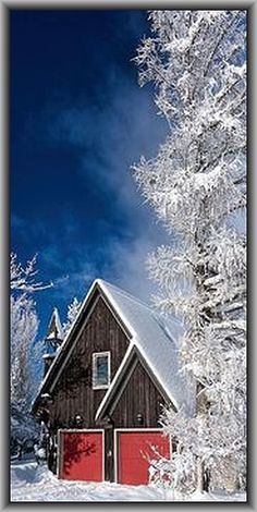 Ontario - Canada #by Rico F on flickr #winter snow sky blue white house cabin landscape nature cold ice