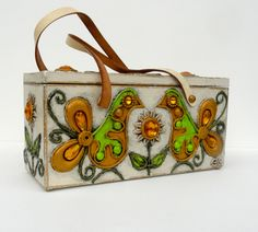 60s Enid Collins Paper Mache Box Bag 1960s by pHashIONpassION