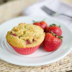 These paleo strawberry muffins are perfect for breakfast or an afternoon snack — gluten-free, grain-free, and dairy-free...