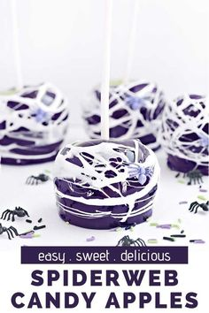 Spiderweb Candy Apples are the best dessert for Halloween get togethers and parties. So tasty and easy to make too! Halloween Desserts, Halloween Cakes, Fall Desserts, Halloween Treats, Delicious Desserts, Halloween Stuff, Apple Dessert Recipes, Apple Crisp Recipes, Homemade Desserts