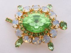 Turtle Brooch green and opaline rhinestones figural AA742 by MeyankeeGliterz on Etsy