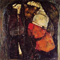 "Egon Schiele ""pregnant woman and the death"" 1911 Oil on canvas 100 x 100 cm National Gallery in Prague"