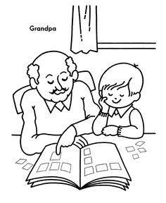 Grandparents Day Coloring Pages - Grandpa teaches me things