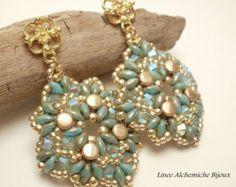SuperDuo and Pellet Bead TUTORIAL, Jasper earrings,earrings tutorial with Superduo and Pellet beads