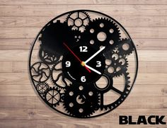 Mechanism unique wall clock from vinyl record