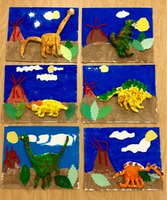 2nd grade- mixed media- model magic clay dinosaur on painted canvas - Art with Mr. Giannetto blog