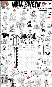 English worksheet: halloween matching