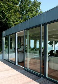 Aluminium-clad timber sliding windows, from Wood Window Alliance member, Velfac Velfac Windows, House Windows, Sliding Windows, Sliding Door, Future House, My House, Danish House, Contemporary Windows, Glass Pavilion