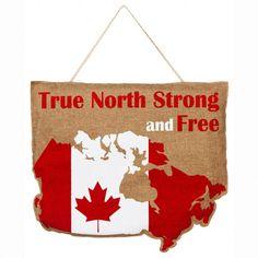 True North Strong and Free Canada Burlap Door Decor