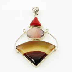 Genuine Coral, Mookaite & Botswana Agate  Pendant. Starting at $1 on Tophatter.com!