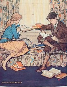 A lovely Book Week poster from 1924, designed by Jessie Wilcox Smith, who illustrated many children's books.
