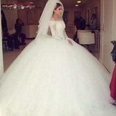 Princess Wedding Dresses : Princess Long Sleeve Puffy Ball Gown Wedding Dresses Off Shoulder Bridal Gowns