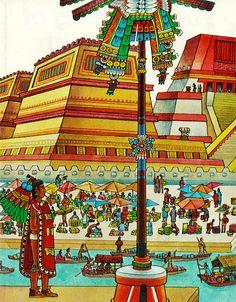 Aztec City, Aztec Empire, Aztec Culture, Ancient Myths, Inka, Aztec Warrior, Mexico Art, Mesoamerican, Chicano Art