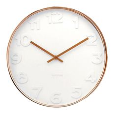 """Make a statement with the best selling """"Karlsson Wall Clock Mr White Numbers Copper - Small"""" clock by world leading Dutch design house Karlsson. Measuring x this designer clock features a modern, copper frame, large bold white numbers an Wall Clock Copper, White Wall Clocks, Copper Accessories, Home Accessories, Decorative Accessories, Wall Clock Online, Thing 1, Wonderwall, Beautiful Space"""