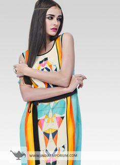 Multi Color Moss Georgette Kurti #Multicolor #Kurti #Sleeveless #OOTD #OutfitOfTheSummer #Summertrend #Indiaemporium