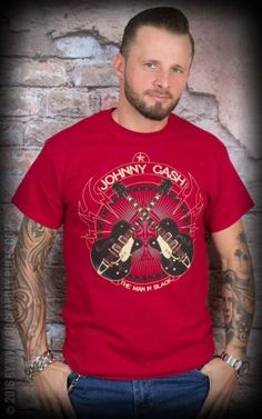 T-Shirt - Johnny Cash - Cross Guitars, rot #cash #rockabillyrules