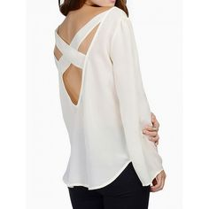 Choies White Cross Backless Flared Sleeve Chiffon Blouse ($15) ❤ liked on Polyvore featuring tops, blouses, white, backless blouse, cross blouse, white chiffon blouse, white chiffon top and flared sleeve top