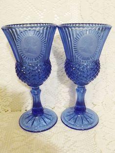 Fostoria Goblets Set of Two George Washington Cameo Cobalt Blue for Avon Vintage Glass