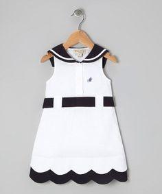 White & Navy Blue Sailor Dress - Infant & Toddler by P'tite Môm Toddler Dress, Toddler Outfits, Baby Dress, Toddler Girl, Kids Outfits, Infant Toddler, Little Dresses, Little Girl Dresses, Girls Dresses