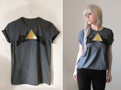 Hand Printed T-shirt - Let's Make Shapes - Charcoal/Gold by Little Lost Soul on #Etsy #tee #fall #stle #fashion