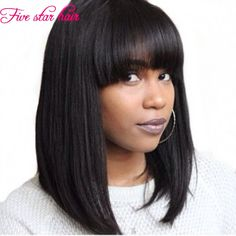 Hotsale Straight Short Bob Wigs with Bangs Human Hair Lace Front Wigs Bobo Wigs Celebrity Wig With Fringe Short Human Hair Wigs, Human Wigs, Short Bob Wigs, Front Hair Styles, Medium Hair Styles, Natural Hair Styles, Curly Hair Styles, Bob Lace Front Wigs, Synthetic Lace Front Wigs