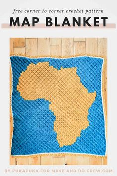 This corner to corner crochet map blanket showing a map of Africa is perfect for geography-lovers, teachers or children. Get the free pattern and even learn how to design your own map crochet project. C2c Crochet Blanket, Crochet Blanket Patterns, Crocheted Afghans, Crochet Blankets, Corner To Corner Crochet Pattern, Make And Do Crew, Modern Crochet Patterns, Project Free, Africa Map