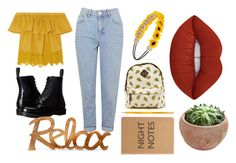"""""""mellow yellow"""" by oliviacarter-i on Polyvore featuring Madewell, Topshop, Dr. Martens, Forever 21 and Lime Crime"""