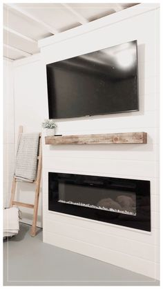 Build A Fireplace, Home Fireplace, Modern Fireplace, Living Room With Fireplace, Diy Faux Fireplace, Shiplap Fireplace, Fireplace Ideas, Living Room Built Ins, Home Living Room