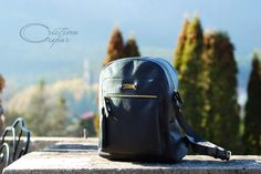 Black leather handmade  CC backpack