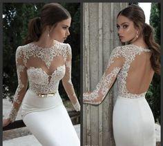 Berta Bridal 2014 Lace Bodice Jewel Sheer Long Sleeves Mermaid Illusion Wedding Bridal Dress Floor Length Backless Dresses P0086