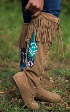 Tribal Dance Hand Painted Moccasin Boots by PaintedPeacockShop Boots Boho, Boho Shoes, Fringe Boots, Cowgirl Boots, Ugg Boots, Shoe Boots, Western Boots, Riding Boots, Tribal Shoes