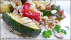 Wheat Salad: cooked wheat, hazelnuts and roasted zucchini and bell pepper, delish!