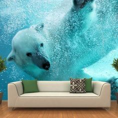 Bring a super awesome alternative to wall paints that depicts a scene from the Poles with this Polar Bear Underwater Attack Wall Mural. Wall Mural Decals, Removable Wall Murals, Floor Murals, Floor Art, Wall Design, House Design, Framed Wallpaper, Photo Mural, Cool Walls