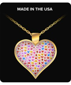 Emoji Necklace - Heart Pendant Fulfill With Emoji Symbols, Silver/Gold Plated - Susu Collection