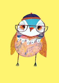 The Cutest Owl. Illustration, Owl Drawing Print.