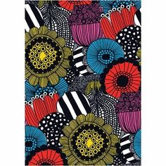 Buy Marimekko Flexi Journal online and save! This chic journal stands out with one of the brand's most sought-after patterns on its cover—Siirtolapuutarha (pronounced seer-too-la- poo-tar-ha), me. Marimekko, Textile Patterns, Print Patterns, Floral Patterns, African Textiles, Arte Popular, Textile Artists, Copics, Elementary Art