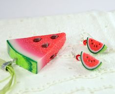 Big Watermelon pendant Watermelon necklace by PommeDeNeige
