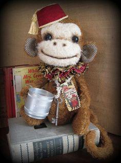 OOAK Grinder Bellhop Monkey Vintage Mohair Prim Art Doll Bear Hip Heart Studio | eBay