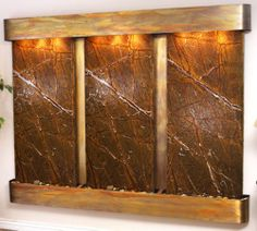 Horizontal Modern Lighted Indoor Wall Water Fountain -Slate,Marble- Mult Choices