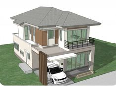 Home Design Plan with 4 Bedrooms. - Home Design with Plansearch Town House Plans, House Layout Plans, Duplex House Plans, Small House Plans, House Layouts, House Front Design, Modern House Design, Home Design Plans, Plan Design