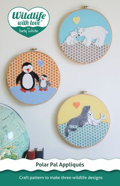 adorable felt appliques in embroidery hoops