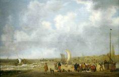 Willem van Diest (1610-1673) In 1646 schilderde Willem van Diest de visafslag op het strand van Scheveningen. Rechts op de achtergrond is de toren van de Oude Kerk zichtbaar. Pinken komen door de branding aan land. Ook in 1646 werden honden uitgelaten op het strand. (Coll. Haags Historisch Museum)
