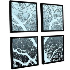 ArtWall Linda Parker Evening Light On Tree 4-Piece Floater-framed Canvas Square Set, Size: 36 x 36, Black