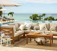 Build Your Own - Hampstead Teak Sectional Components - Honey #potterybarn