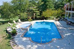 pool Swimming Pools Backyard, Pool Landscaping, Roman Pool, Dipping Pool, Simple Pool, Pool Shapes, Pool Liners, Backyard Designs, Inground Pool Designs