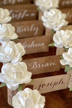 Your guests will have stars in their eyes over these beautiful, romantic wedding Place Card Holders!  Crafted by hand in sunny California & available in dozens of custom colors.  Visit www.karasvineyardwedding.com today to reserve your set! Wedding Places, Wedding Place Cards, Name Card Holder, Place Card Holders, Nice Handwriting, Sunny California, Blooming Rose, Seating Chart Wedding, Vineyard Wedding