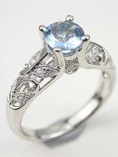Vintage Inspired Aquamarine Engagement Ring   Topazery, RG-3169, Climbing vines and leaves wind their way up the shank of this vintage style aquamarine engagement ring.